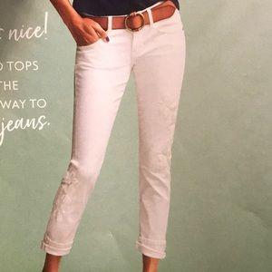 Slim Boyfriend white embroidered jeans. NWT!